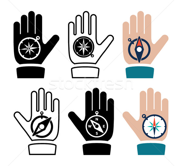vector collection of compass in hand flat icons Stock photo © freesoulproduction