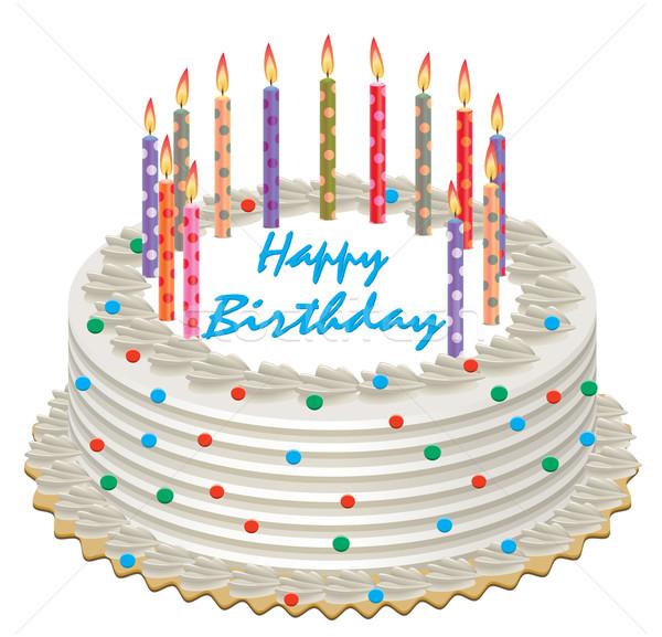 Сток-фото: вектора · именинный · торт · сжигание · свечей · счастливым · зеленый