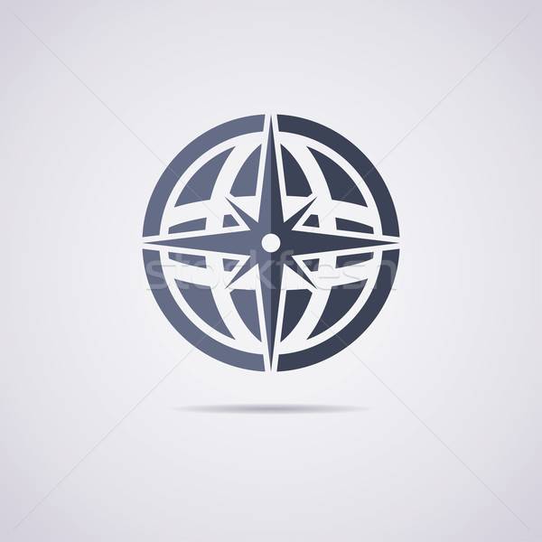 vector flat icon of earth globe and compass Stock photo © freesoulproduction