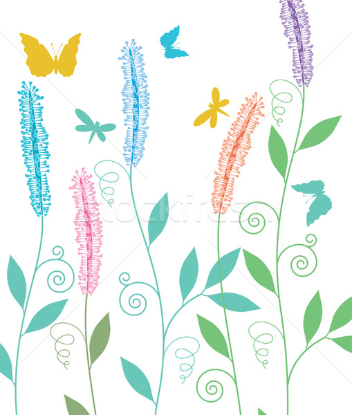 вектора весенние цветы цветок бабочка аннотация саду Сток-фото © freesoulproduction