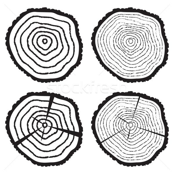 Vektör ahşap kesmek ağaç toplama siyah beyaz Stok fotoğraf © freesoulproduction