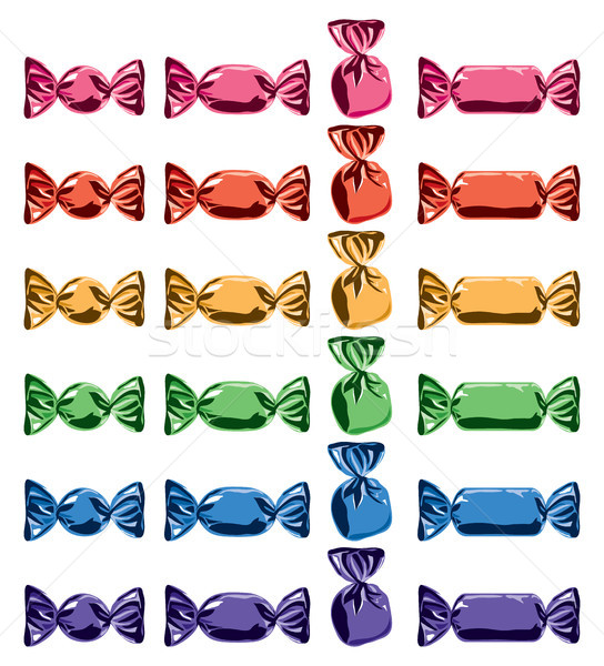 vector collection of colorful wrapped candies Stock photo © freesoulproduction