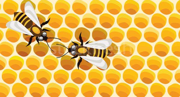 Arılar vektör çalışma çalışmak arka plan yeme Stok fotoğraf © freesoulproduction