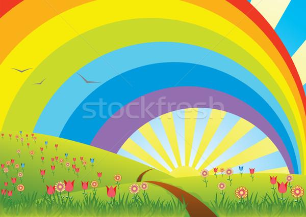 вектора радуга небе солнце природы Сток-фото © freesoulproduction