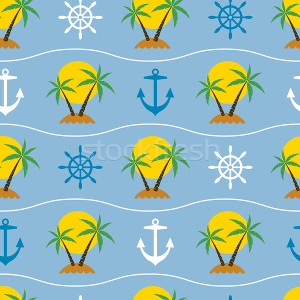 Vector sin costura palmera viaje playa agua Foto stock © freesoulproduction