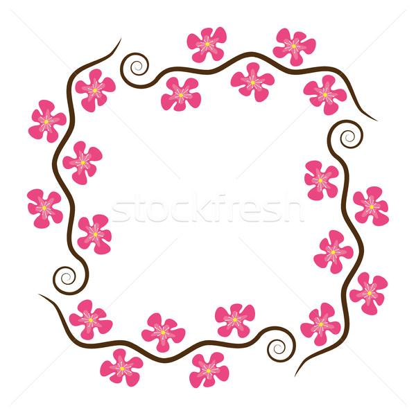 Stock fotó: Vektor · absztrakt · dekoráció · minta · cseresznye · ágak