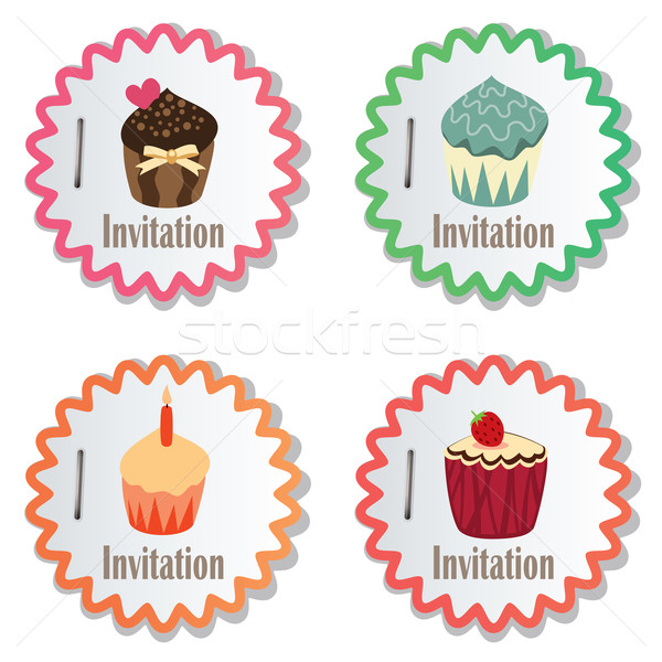 vector cupcakes on paper stickers Stock photo © freesoulproduction