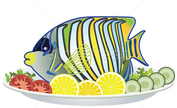 Сток-фото: вектора · рыбы · овощей · пластина · приготовленный · сырой