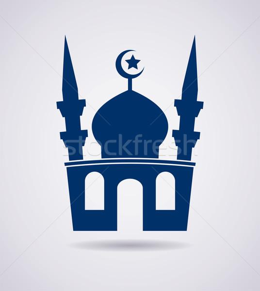 Vektor iszlám mecset ikon szimbólum kék Stock fotó © freesoulproduction