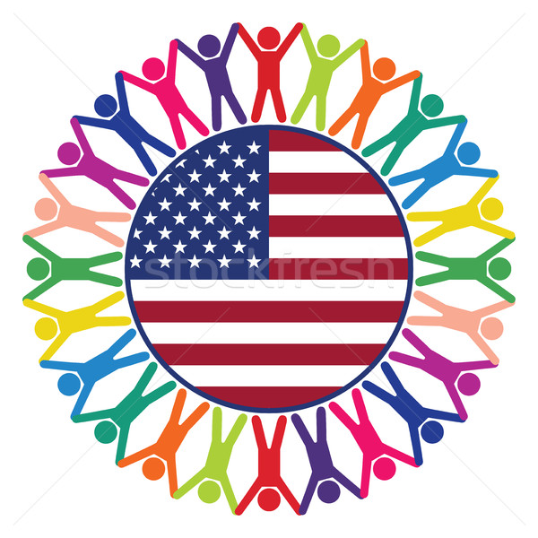 vector colorful icon, people of United States of America Stock photo © freesoulproduction