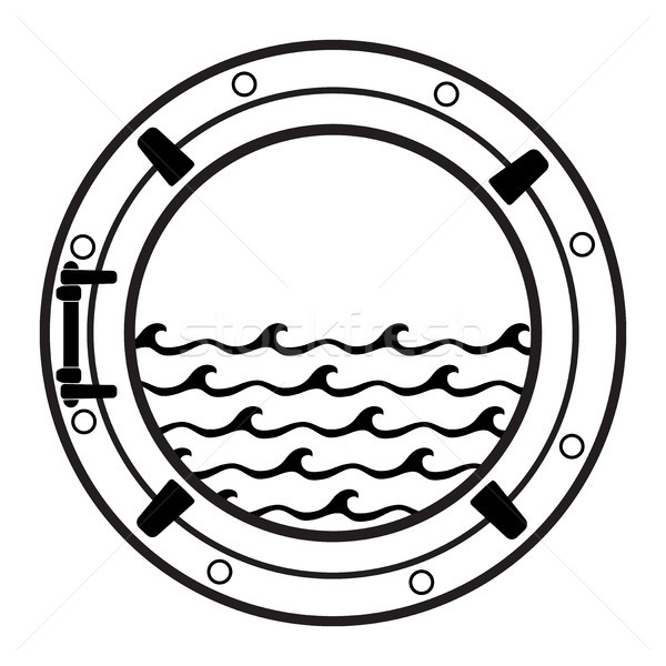 Vector cruiseschip cabine icon zwart wit onderzeeër Stockfoto © freesoulproduction