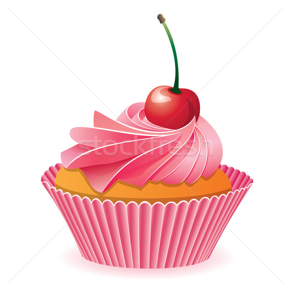 Stock photo: vector pink cupcake with red cherry