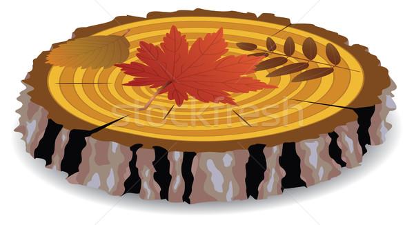 Vector houten gesneden vallen bladeren boom Stockfoto © freesoulproduction