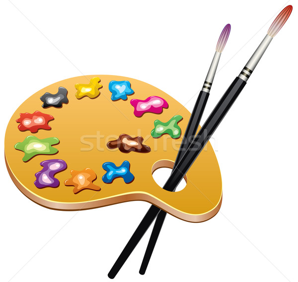 vector wooden art palette with blobs of paint and brushes Stock photo © freesoulproduction