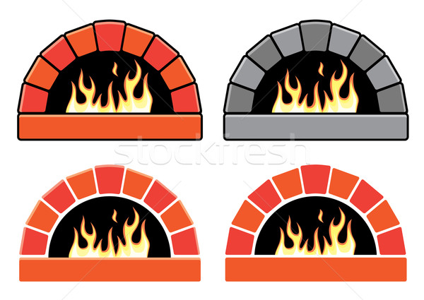 vector clipart set of ovens with burning fire  Stock photo © freesoulproduction