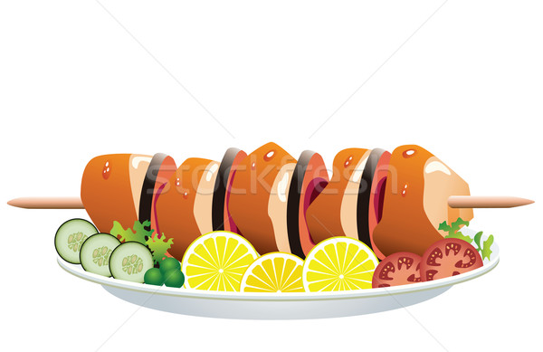 Stock photo: vector grilled chicken and vegetables