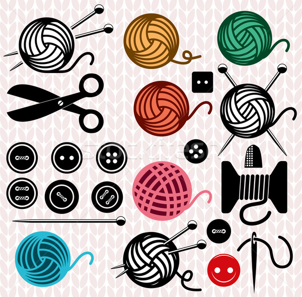 vector yarn balls and sewing equipment icons Stock photo © freesoulproduction
