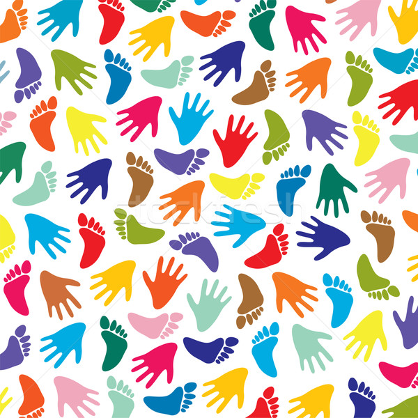 vector colorful feet and hands background Stock photo © freesoulproduction