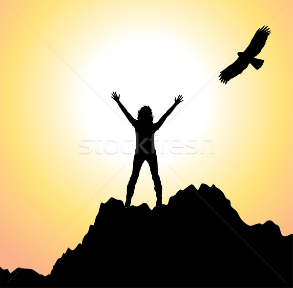 vector girl on the mountain and flying bird Stock photo © freesoulproduction
