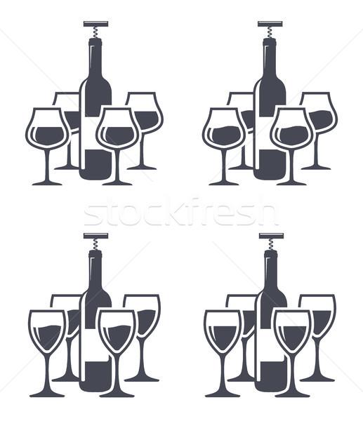 Vektor ikonok vörösbor üvegek dugóhúzó bor Stock fotó © freesoulproduction