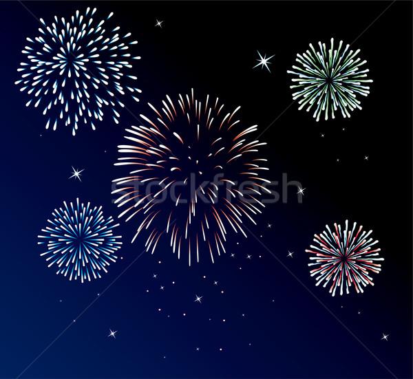 Stock fotó: Tűzijáték · vektor · boldog · absztrakt · zöld · kék