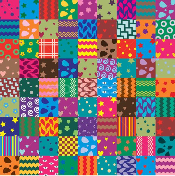 Vecteur patchwork tissu art fleur coeur Photo stock © freesoulproduction