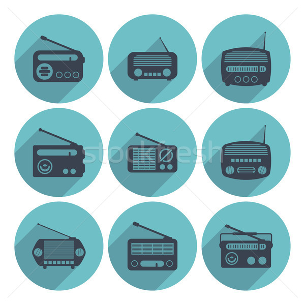 vector set of radio icons, flat style Stock photo © freesoulproduction