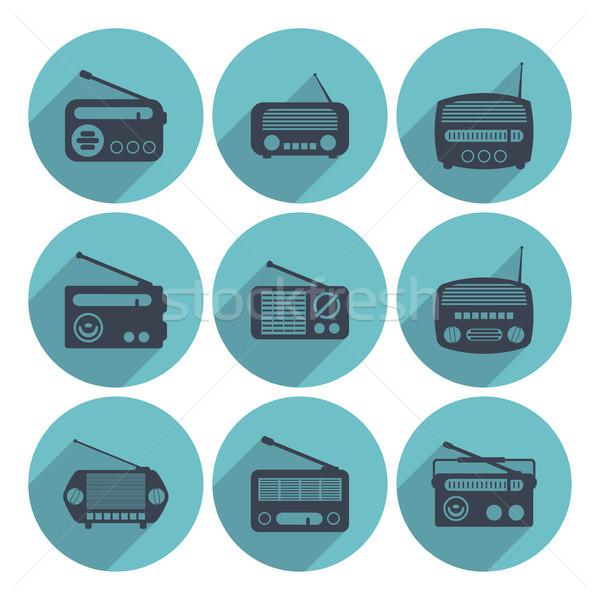 Stock photo: vector set of radio icons, flat style