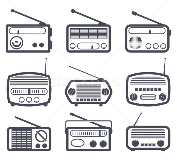 vector set of black and white radio icons Stock photo © freesoulproduction
