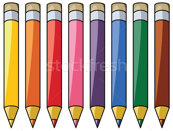 Colorido lápices clipart vector oficina madera Foto stock © freesoulproduction
