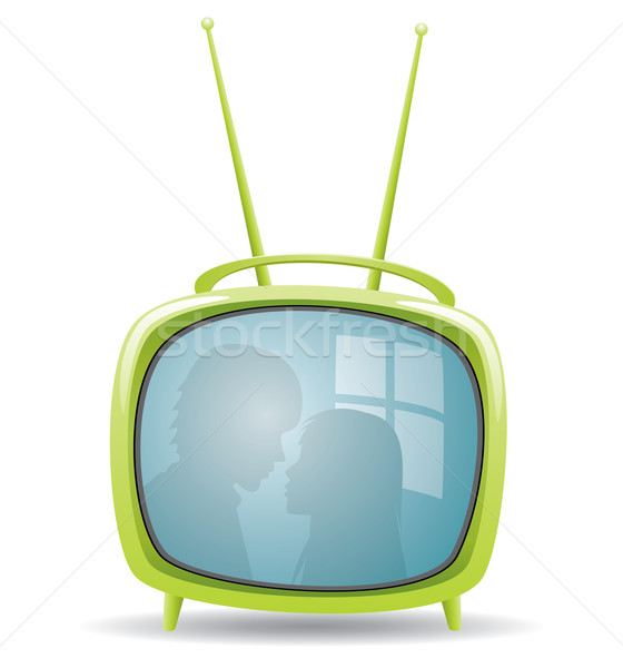 vector green retro tv set with reflection  Stock photo © freesoulproduction