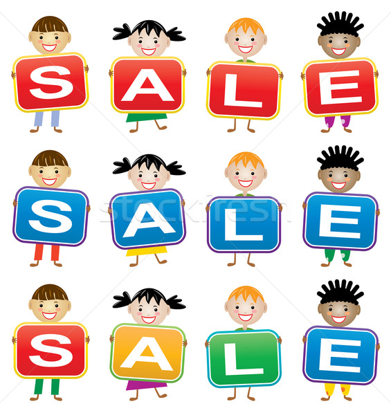 vector children holding cards with letters  Stock photo © freesoulproduction