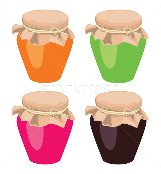 vector jam jars tied with a rope Stock photo © freesoulproduction