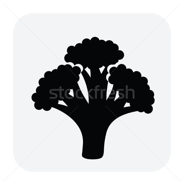 Vektör siyah beyaz ikon brokoli sağlıklı organik gıda Stok fotoğraf © freesoulproduction