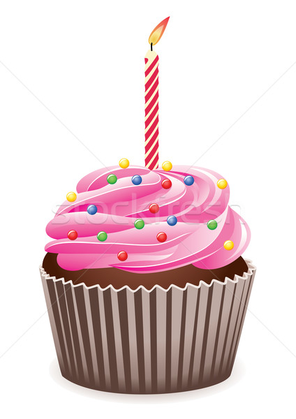cupcake with burning candle Stock photo © freesoulproduction