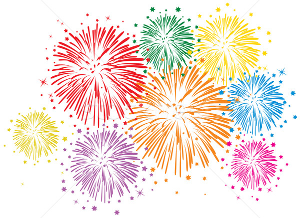 Stock photo: vector colorful fireworks on white background