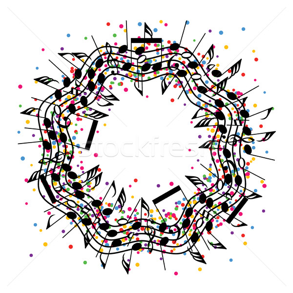 vector round colorful background of music notes Stock photo © freesoulproduction
