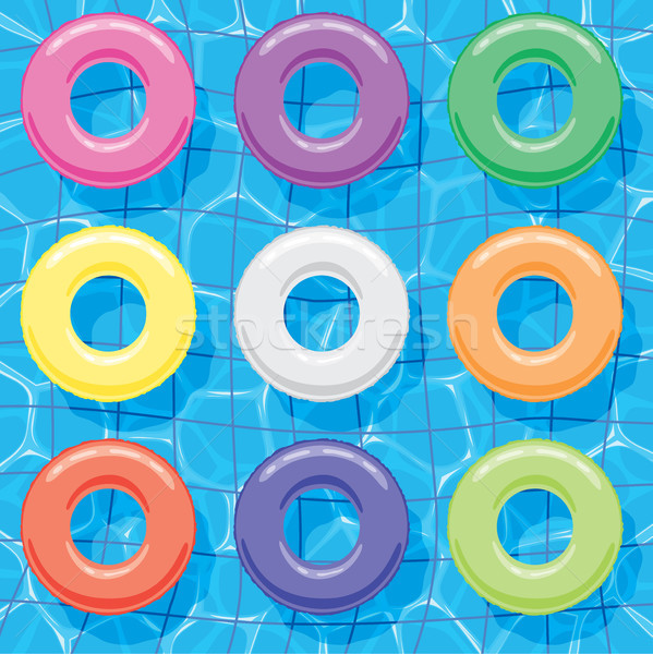 vector summer background with collection of colorful inflatable  Stock photo © freesoulproduction