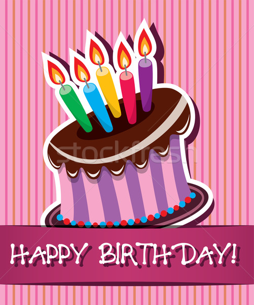 vector birthday card with cake and candles  Stock photo © freesoulproduction