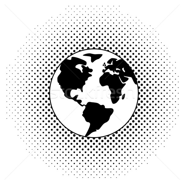 vector black and white earth globe  Stock photo © freesoulproduction