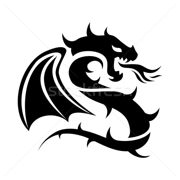 vector icon of flying dragon, black and white logo Stock photo © freesoulproduction