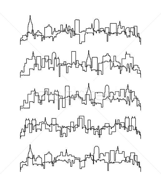 Vektor vékony vonal kontúrok épületek szett Stock fotó © freesoulproduction