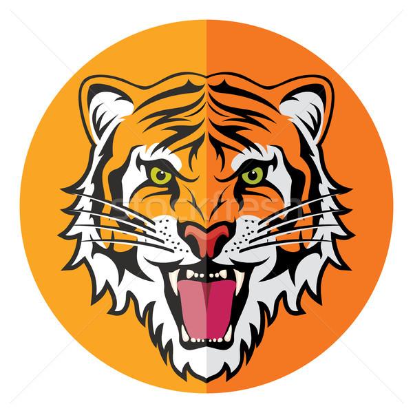 Vecteur icône stylisé visage colère tigre Photo stock © freesoulproduction