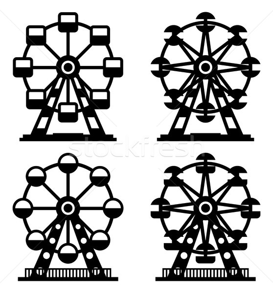 vector collection of park ferris wheels Stock photo © freesoulproduction