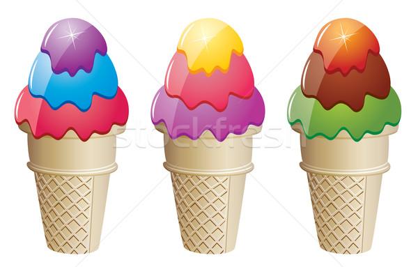 Photo stock: Vecteur · coloré · icecream · alimentaire · heureux · été