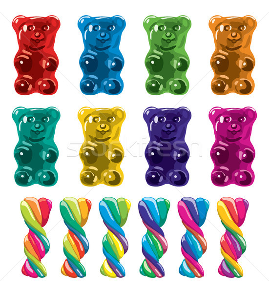 vector gummy bear candies and twisted lollies Stock photo © freesoulproduction