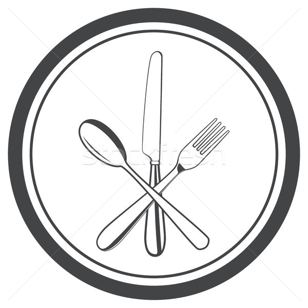 Foto stock: Vector · icono · placa · tenedor · cuchillo · cuchara