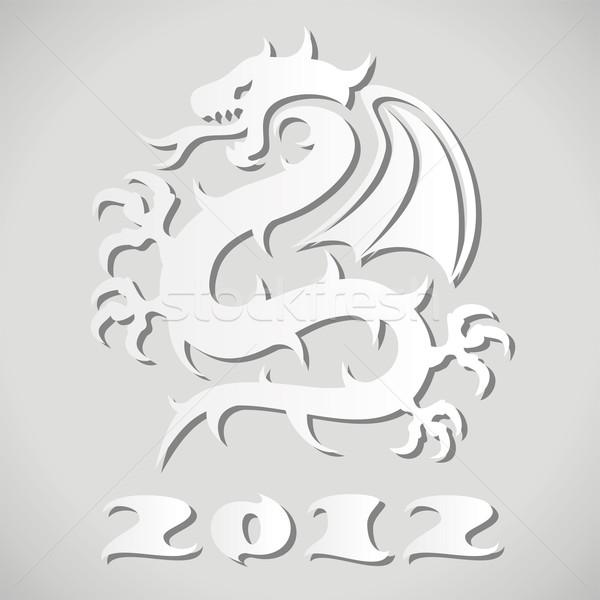 вектора белый бумаги дракон дизайна цвета Сток-фото © freesoulproduction