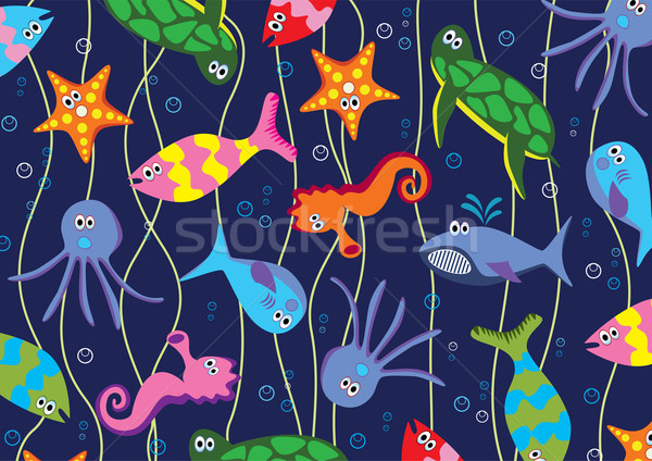 Vector colorido animales marinos agua ojos diseno Foto stock © freesoulproduction