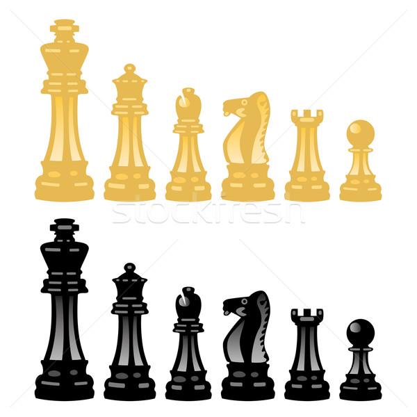 Vektor szett sakkfigurák fény háttér sakk Stock fotó © freesoulproduction